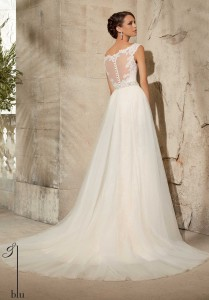 Wedding Dress with Train and Sheer Back
