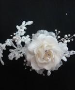 T009-Flowery Silk Hair Comb