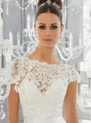 J11275-Pearl and Diamanté Beaded Alençon Lace Jacket